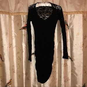 Black lace long sleeve bodycon dress sz XS